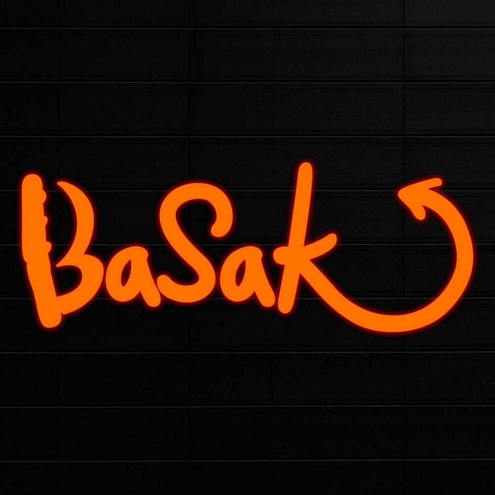 Basak original logo with letters only in orange