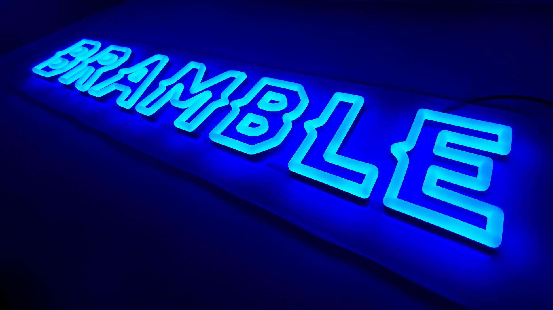 Creative shot of the Brumble neon wall decor