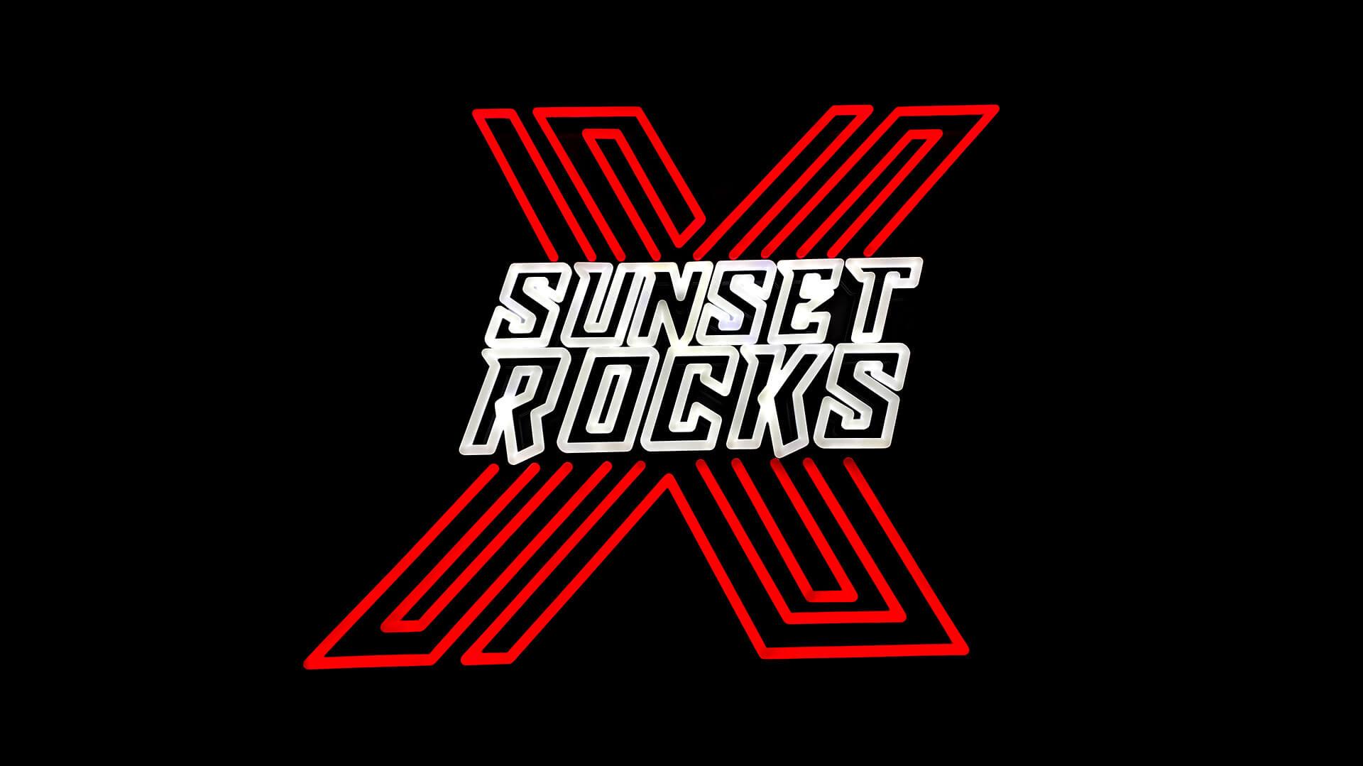 Beautiful SUNSET Rocks corporate events neon sign