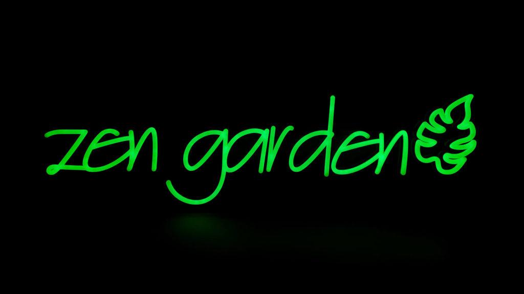 Green Zen Garden Neon Sign with Leaf Pattern