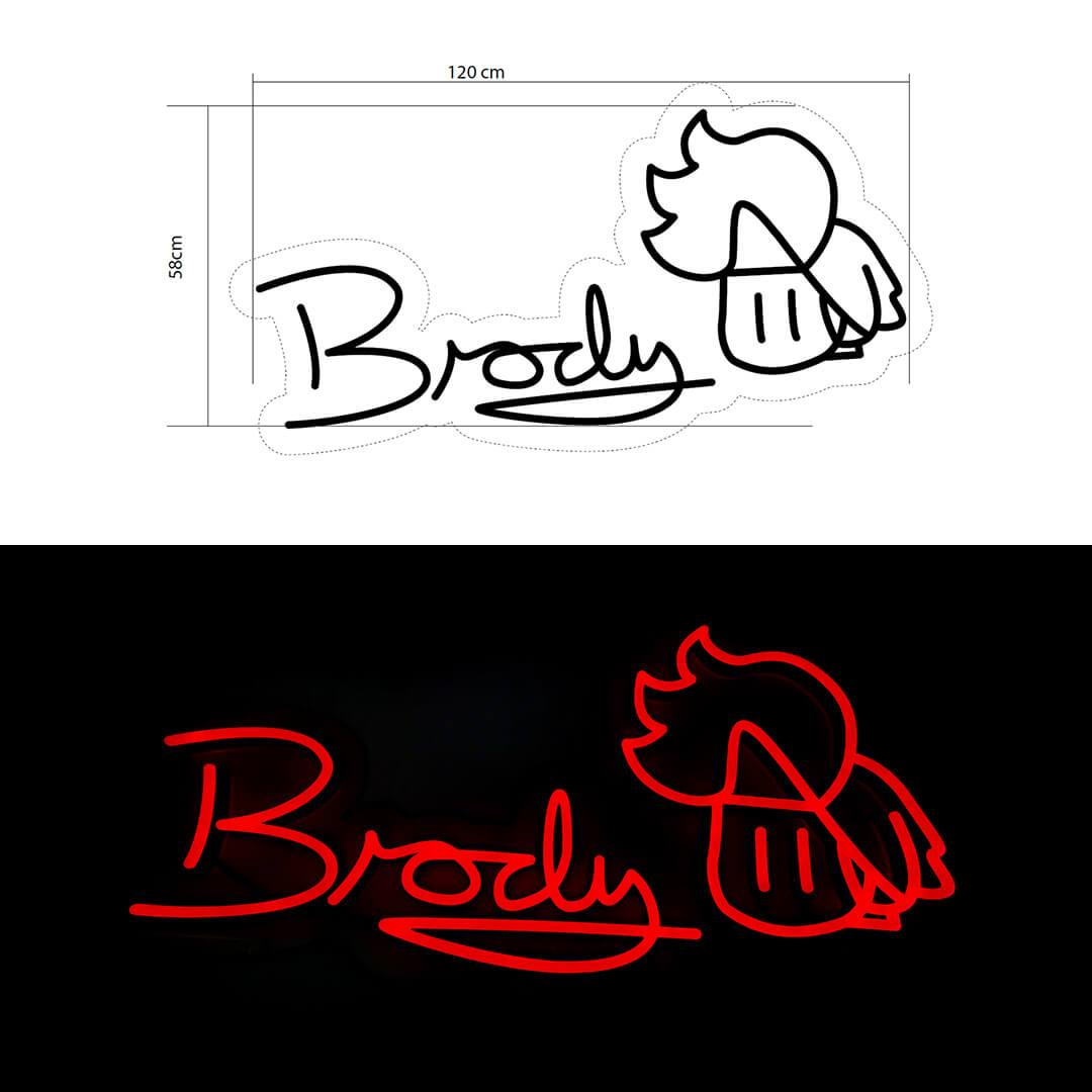 Actual vs Mockup of Brody's Neon Sign