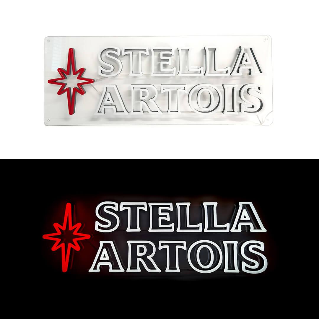 Stella Artois Neon sign Lights on vs Lights off